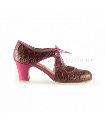 flamenco shoes professional for woman - Begoña Cervera - Escote fuchsia and brown crocodile leather classic heel
