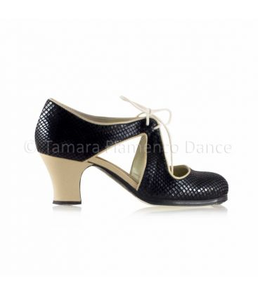 flamenco shoes professional for woman - Begoña Cervera - Escote black snake leather and beige leather , carrete heel