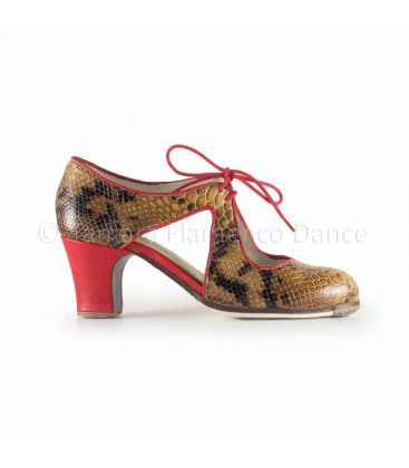 flamenco shoes professional for woman - Begoña Cervera - Escote snake leather and red classic heel