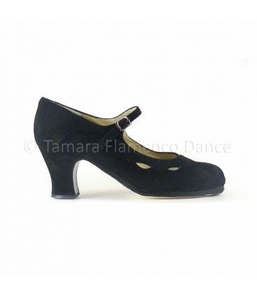 flamenco shoes professional for woman - Begoña Cervera - Estrella black suede carrete heel