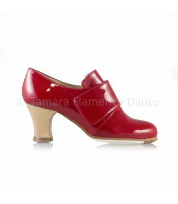 flamenco shoes professional for woman - Begoña Cervera - Goya red patent leather carrete wood heel