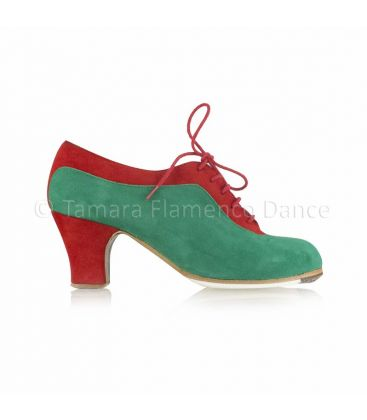 flamenco shoes professional for woman - Begoña Cervera - Ingles Coco red and green suede, carrete heel