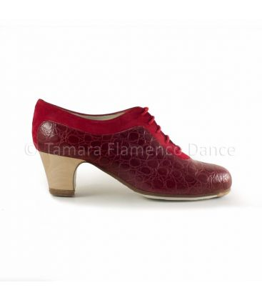 flamenco shoes professional for woman - Begoña Cervera - Ingles Coco burgundy crocodile leather and dark red suede, classic wood heel