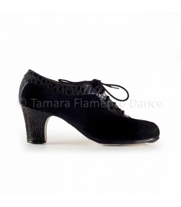 flamenco shoes professional for woman - Begoña Cervera - Ingles Coco black crocodile leather and black suede, classic heel