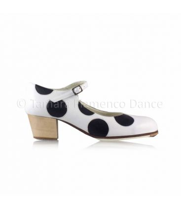 flamenco shoes professional for woman - Begoña Cervera - Lunares black and white leather, cubano heel