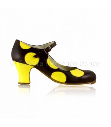 flamenco shoes professional for woman - Begoña Cervera - Lunares black and yellow leather, yellow carrete heel