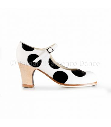 flamenco shoes professional for woman - Begoña Cervera - Lunares black and white leather, classic wood high heel