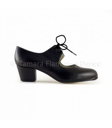 flamenco shoes professional for woman - Begoña Cervera - Cordonera black leather, cubano heel