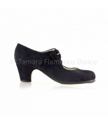 flamenco shoes professional for woman - Begoña Cervera - Tablas black suede, classic heel