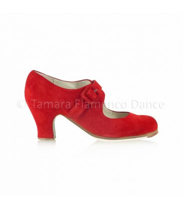 flamenco shoes professional for woman - Begoña Cervera - Tablas red suede, carrete heel