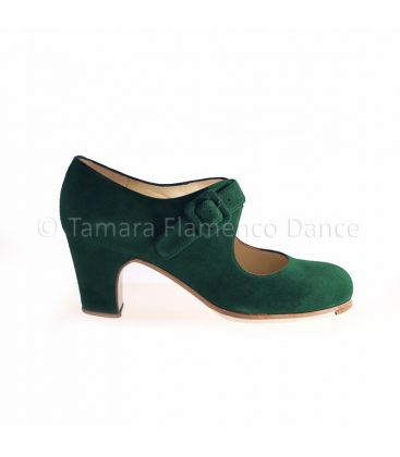 flamenco shoes professional for woman - Begoña Cervera - Tablas green suede, classic heel