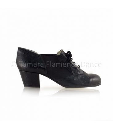 flamenco shoes professional for woman - Begoña Cervera - Picado for woman black ostrich leather, cubano heel