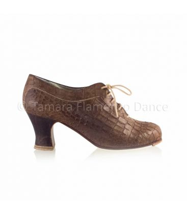 flamenco shoes professional for woman - Begoña Cervera - Ingles Coco brown crocodile leather, carrete dark wood heel