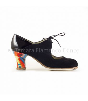 flamenco shoes professional for woman - Begoña Cervera - Arty black suede and patent leather, carrete abstract handpainted heel