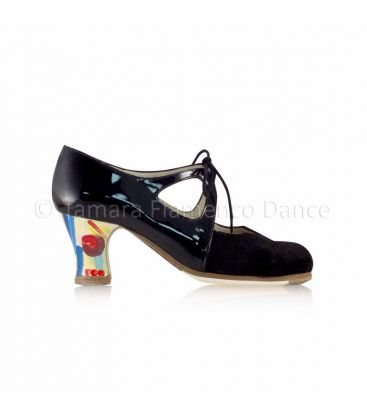 flamenco shoes professional for woman - Begoña Cervera - Dulce black patent leather and suede, carrete handpainted heel