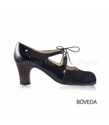 flamenco shoes professional for woman - Begoña Cervera - Dulce black patent leather and suede, classic wood heel