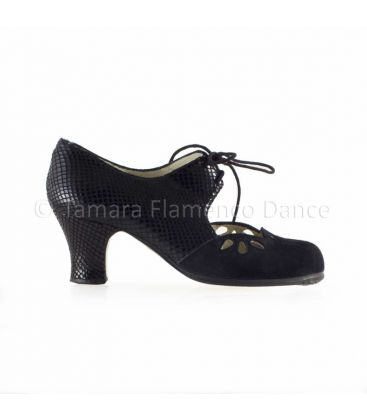 flamenco shoes professional for woman - Begoña Cervera - Petalos black suede and snake leather carrete heel