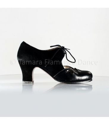 flamenco shoes professional for woman - Begoña Cervera - Petalos black suede and lather carrete heel