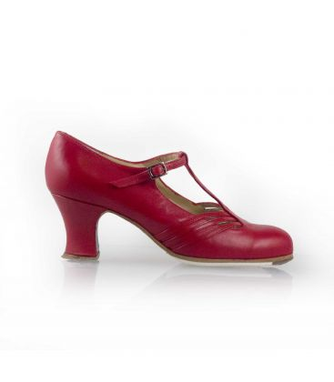 flamenco shoes professional for woman - Begoña Cervera - Class red leather carrete heel