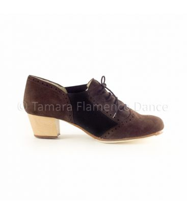 in stock flamenco shoes professionals - Begoña Cervera - Picado brown and black suede, cubano light wood heel