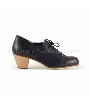 in stock flamenco shoes professionals - Begoña Cervera - Picado Woman black leather, cubano light wood heel