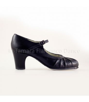flamenco shoes professional for woman - Begoña Cervera - Plisado black leather and black classic heel