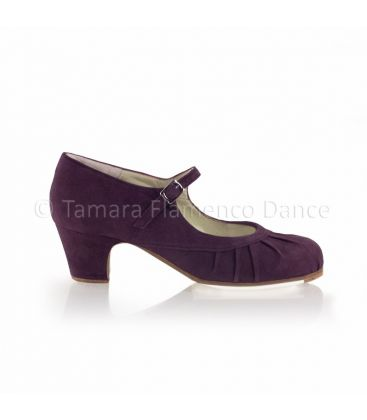 flamenco shoes professional for woman - Begoña Cervera - Plisado purple suede and classic heel