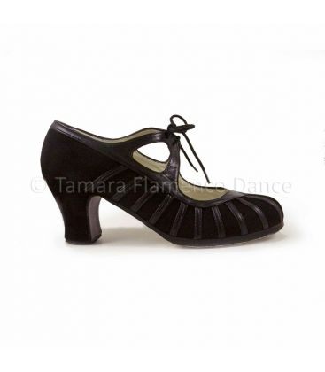 flamenco shoes professional for woman - Begoña Cervera - Primor black suede and leather, carrete heel