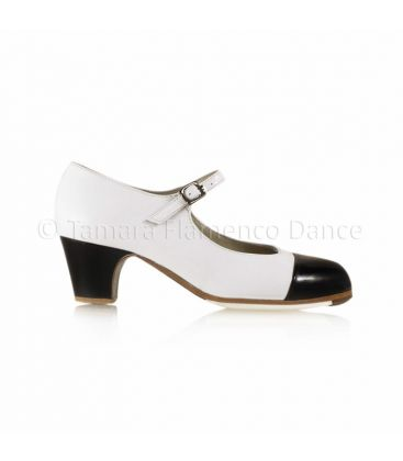 flamenco shoes professional for woman - Begoña Cervera - Puntera white and black leather