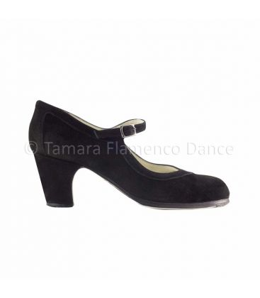 flamenco shoes professional for woman - Begoña Cervera - Salon Correa black suede and straight heel