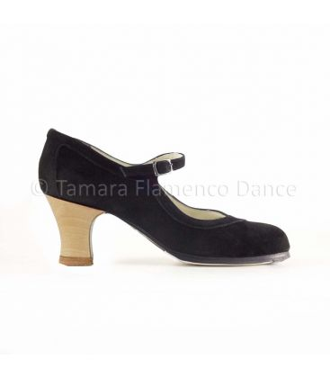 flamenco shoes professional for woman - Begoña Cervera - Salon Correa black suede and carrete light wood heel