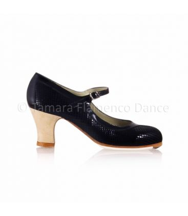 flamenco shoes professional for woman - Begoña Cervera - Salon Correa II black snake leather and carrete light wood heel