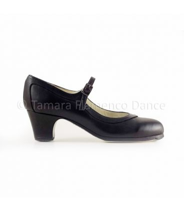 flamenco shoes professional for woman - Begoña Cervera - Salon Correa black leather and low classic heel