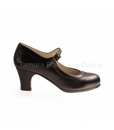 flamenco shoes professional for woman - Begoña Cervera - Salon Correa black leather and carrete heel