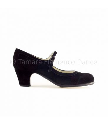 flamenco shoes professional for woman - Begoña Cervera - Salon Correa black suede and low classic heel