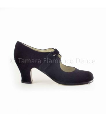flamenco shoes professional for woman - Begoña Cervera - Tablas black suede and carrete heel