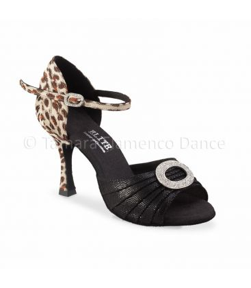 ballroom and latin shoes for woman - Rummos - Elite Cleopatra tiger and fantasy black leather
