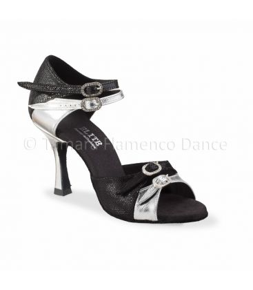 ballroom and latin shoes for woman - Rummos - Elite Elena fantasy black and silver