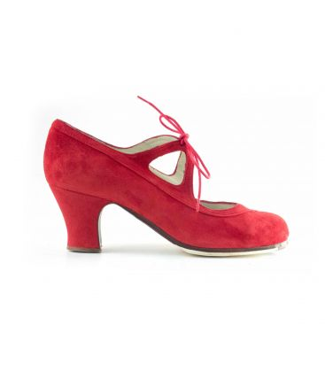in stock flamenco shoes professionals - Begoña Cervera - Candor red suede carrete heel
