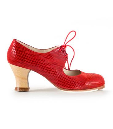in stock flamenco shoes professionals - Begoña Cervera - Cordonera red snake leather wood heel begoña cervera