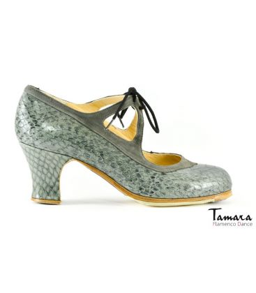 in stock flamenco shoes professionals - Begoña Cervera - Candor grey snake leather with suede