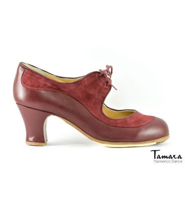 in stock flamenco shoes professionals - Begoña Cervera - Angelito bordeaux leather and suede
