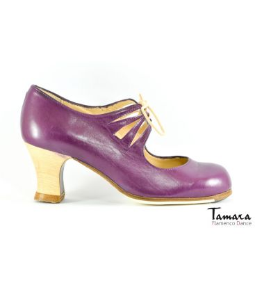 in stock flamenco shoes professionals - Begoña Cervera - Cordonera Calado purple leather wood heel boveda wide