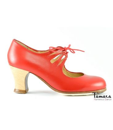 in stock flamenco shoes professionals - Begoña Cervera - Cordonera Calado red leather carrete wood heel
