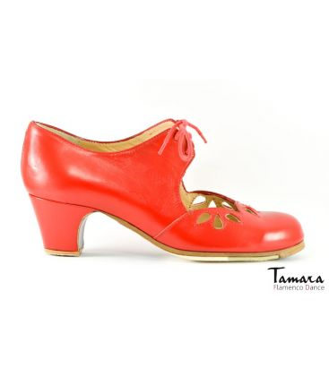 in stock flamenco shoes professionals - Begoña Cervera - Petalos red leather 5cm heel