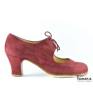 flamenco shoes professional for woman - Begoña Cervera - Cordonera bordeaux suede 6 cm