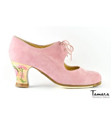 flamenco shoes professional for woman - Begoña Cervera - Cordonera rose suede casilda carrete heel