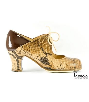 in stock flamenco shoes professionals - Begoña Cervera - Arty snake and brown patent leather