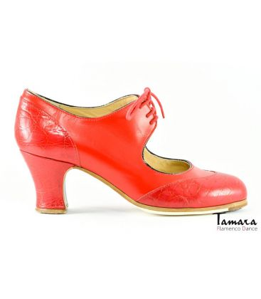flamenco shoes professional for woman - Begoña Cervera - Cordoneria red leather carrete heel