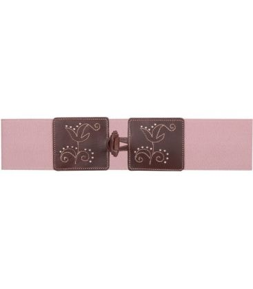andalusian belts - - Leather belt with elastic Flowers